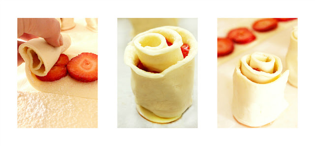strawberry puff pastry rose_2