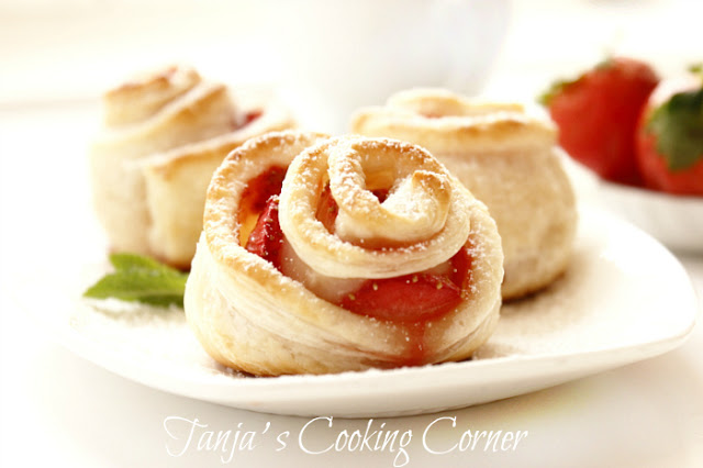strawberry puff pastry rose_4
