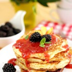 Buttermilk Pancakes with Raspberry Peach Jam Topping: My Guest Post on Give Recipe