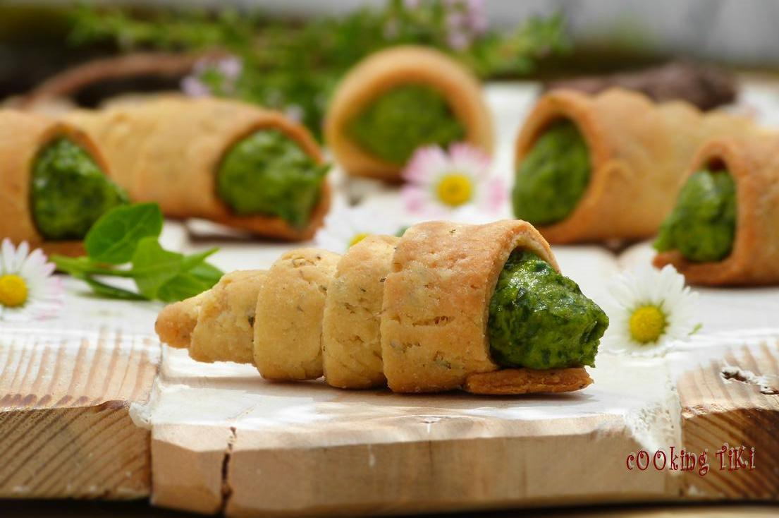 Pastry cones with spinach and tahini mousse